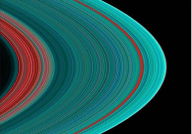 Saturn's rings in ultra-violet light, taken by the Cassini probe.  Photo credit: NASA/JPL/University of Colorado